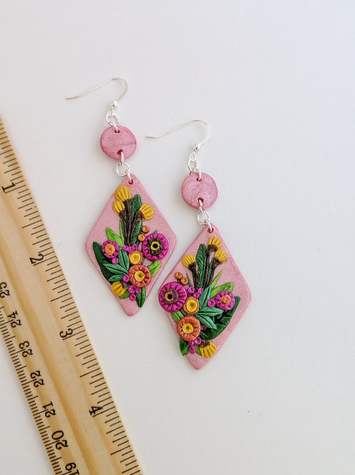 Pink floral bouquet earrings