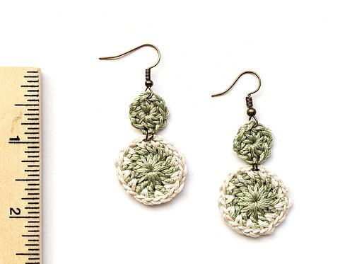 Sage green folk earrings