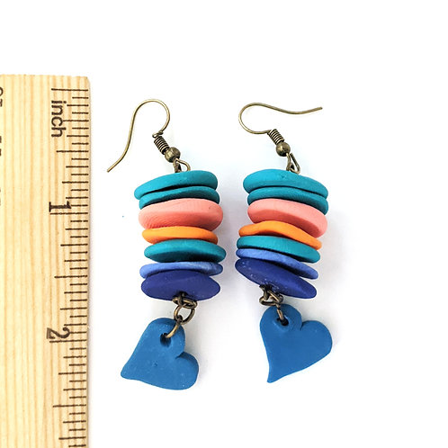 stacked disc and heart earrings