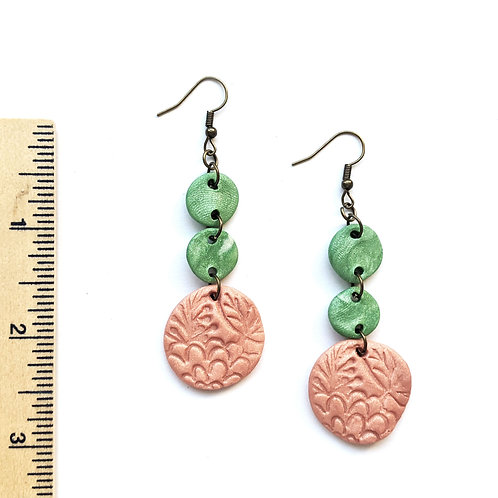 mint and peach stamped clay earrings