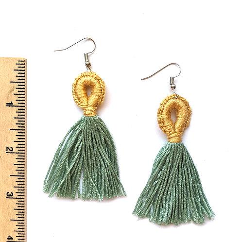 light yellow and green tassel earrings