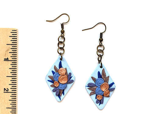 blue and bronze floral earrings