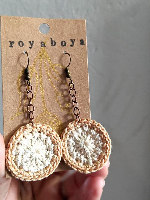 neutral crochet round earrings