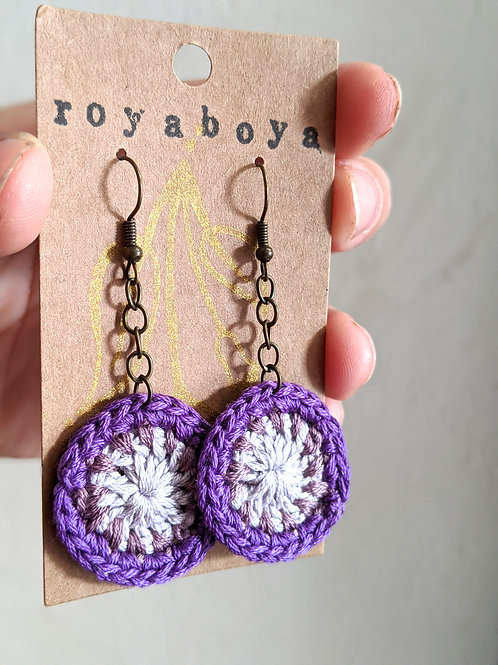 purple crochet round earrings