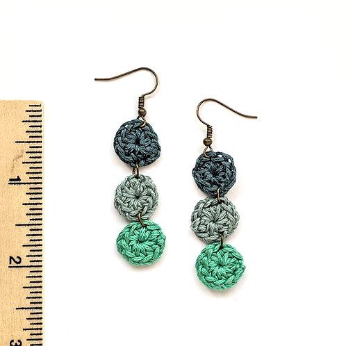 blues and greens dangle crochet earrings