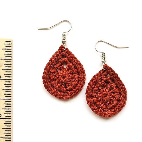 burnt red crochet teardrop earrings