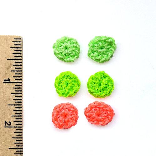 neon crochet stud set