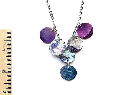 purple and silver galaxy swirl necklace