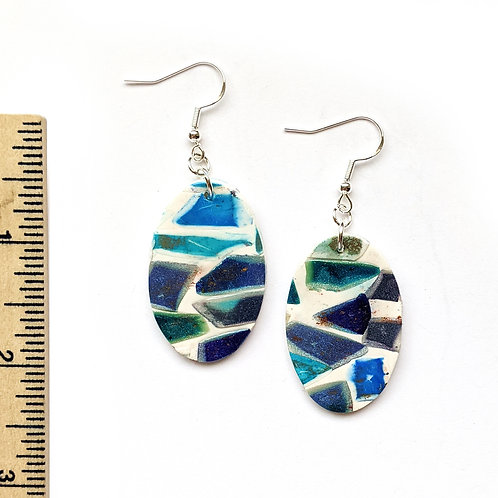 oval seaside town mosaic clay earrings