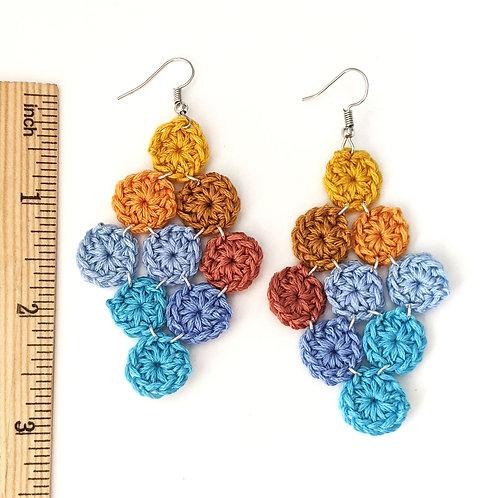 Sea, sand and sky crochet chandelier earrings