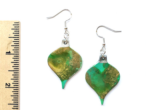 green ornament clay earrings