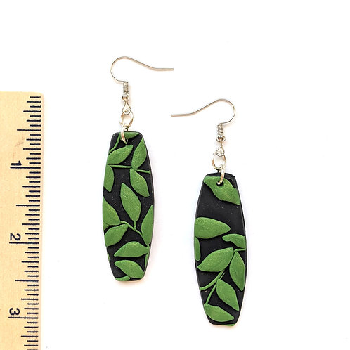 green botanical clay earrings
