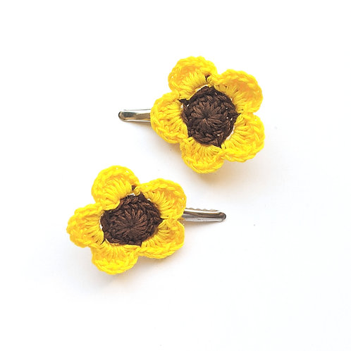 Crochet sunflower hair clips