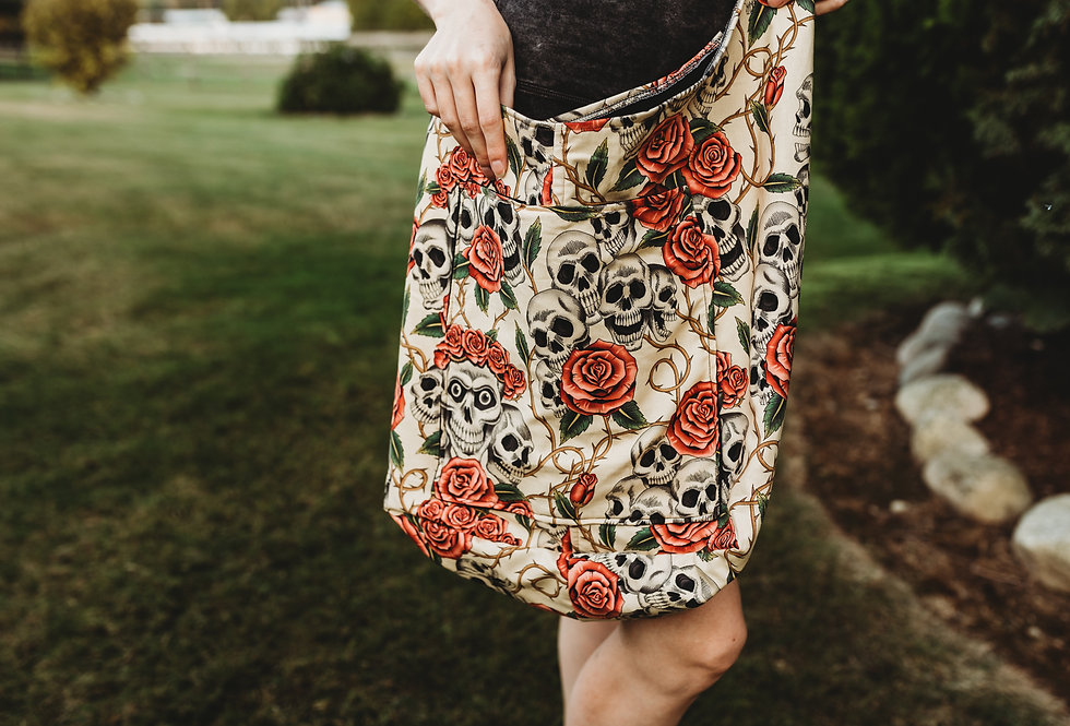 Skulls + Flowers Market Bag