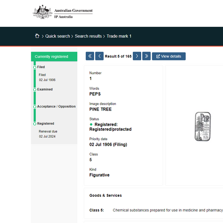 PEPS_the first trademark application in Australia