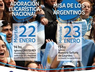 Adoración Nacional y Misa de los Argentinos en la JMJ Panamá 2019