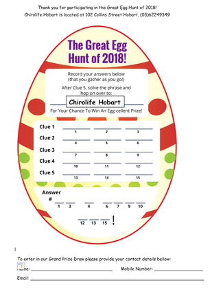 Great Easter Egg Hunt 2018 Answer Sheet