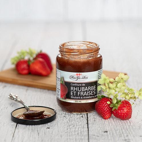 Confiture de rhubarbe et fraises -Strawberry and rhubarb jam 375ml