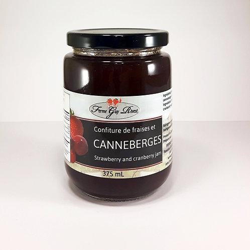 Confiture de fraises et canneberges - Strawberry & cranberry jam 375ml