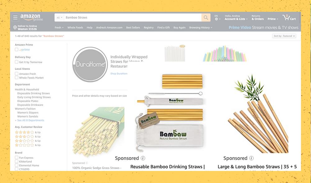 Amazon Bamboo Straws Listings Ads