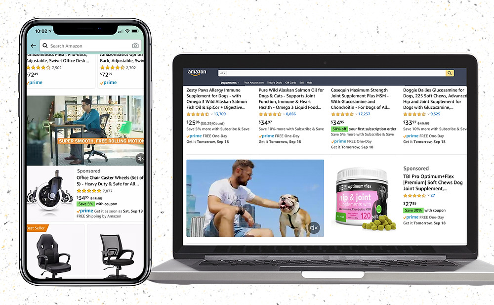 Amazon Ads in Mobile and Desktop Mockups