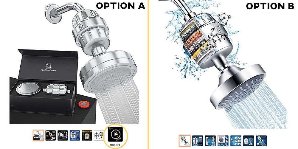 Shower Head Video Comparison Listing Amazon