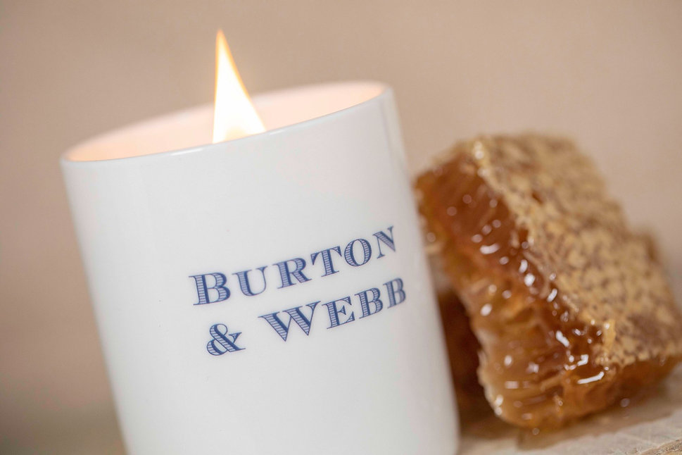 Burton & Webb pure beeswax candles with wooden wick Honey