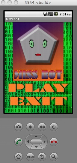 Miss Bot Mobile Game App- Home Page