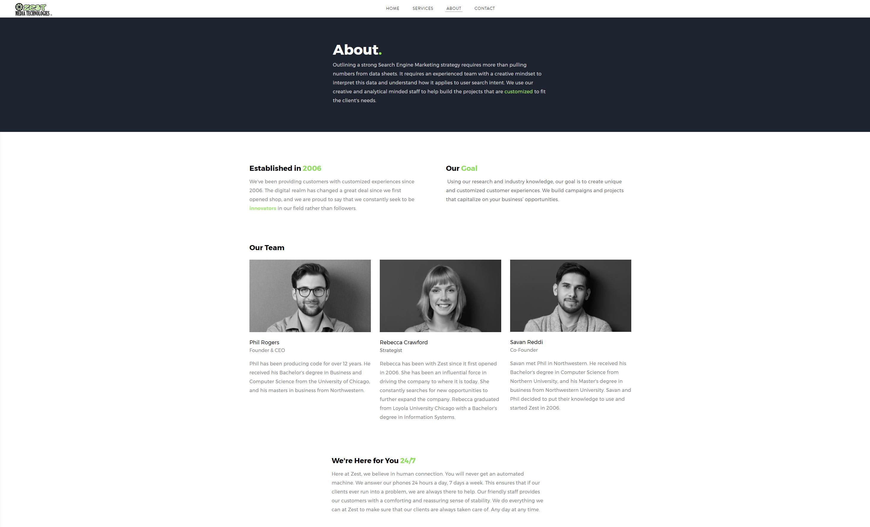 Zest Media Technologies Webpage About