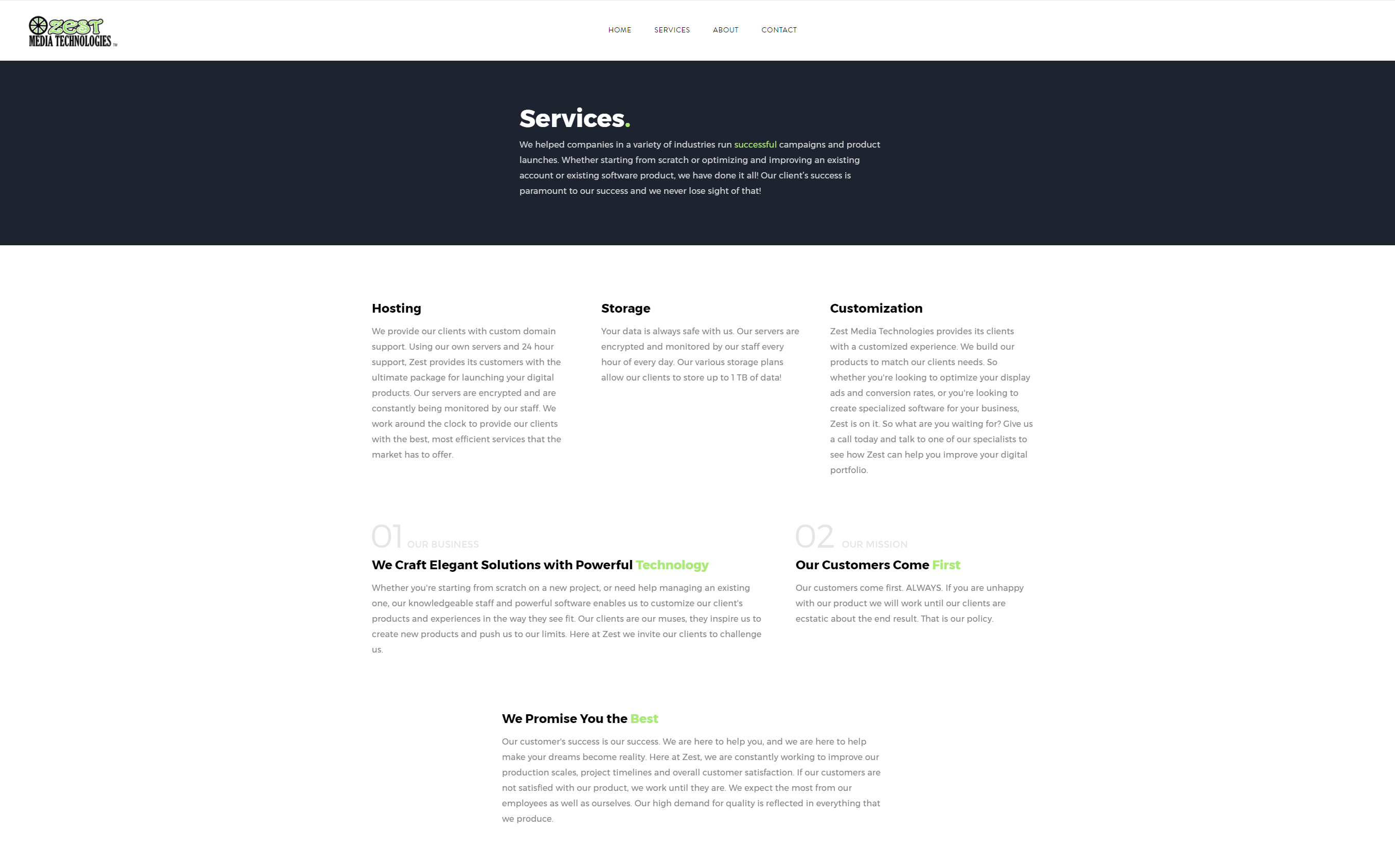 Zest Media Technologies Webpage Services