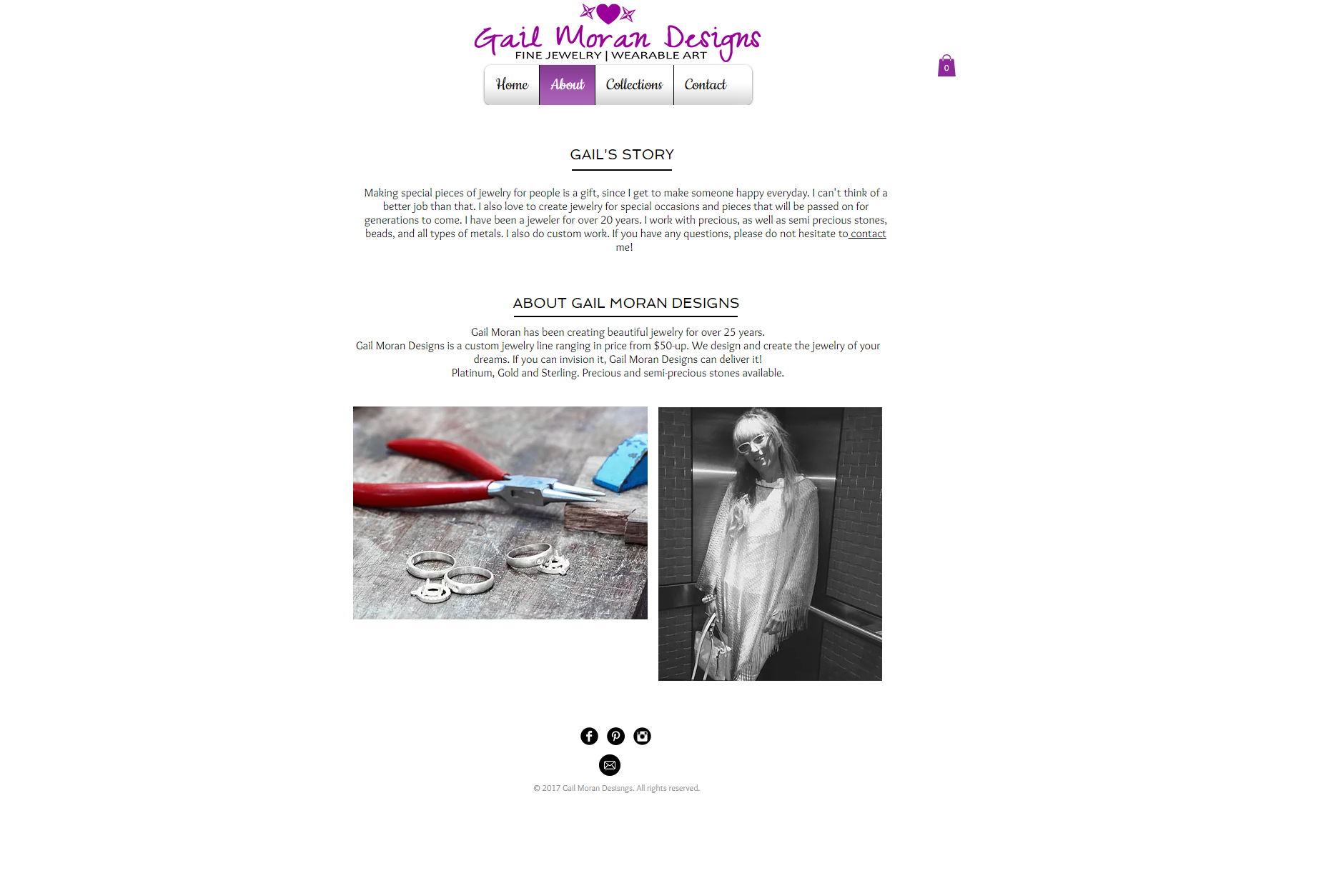 Gail Moran Designs Website- About