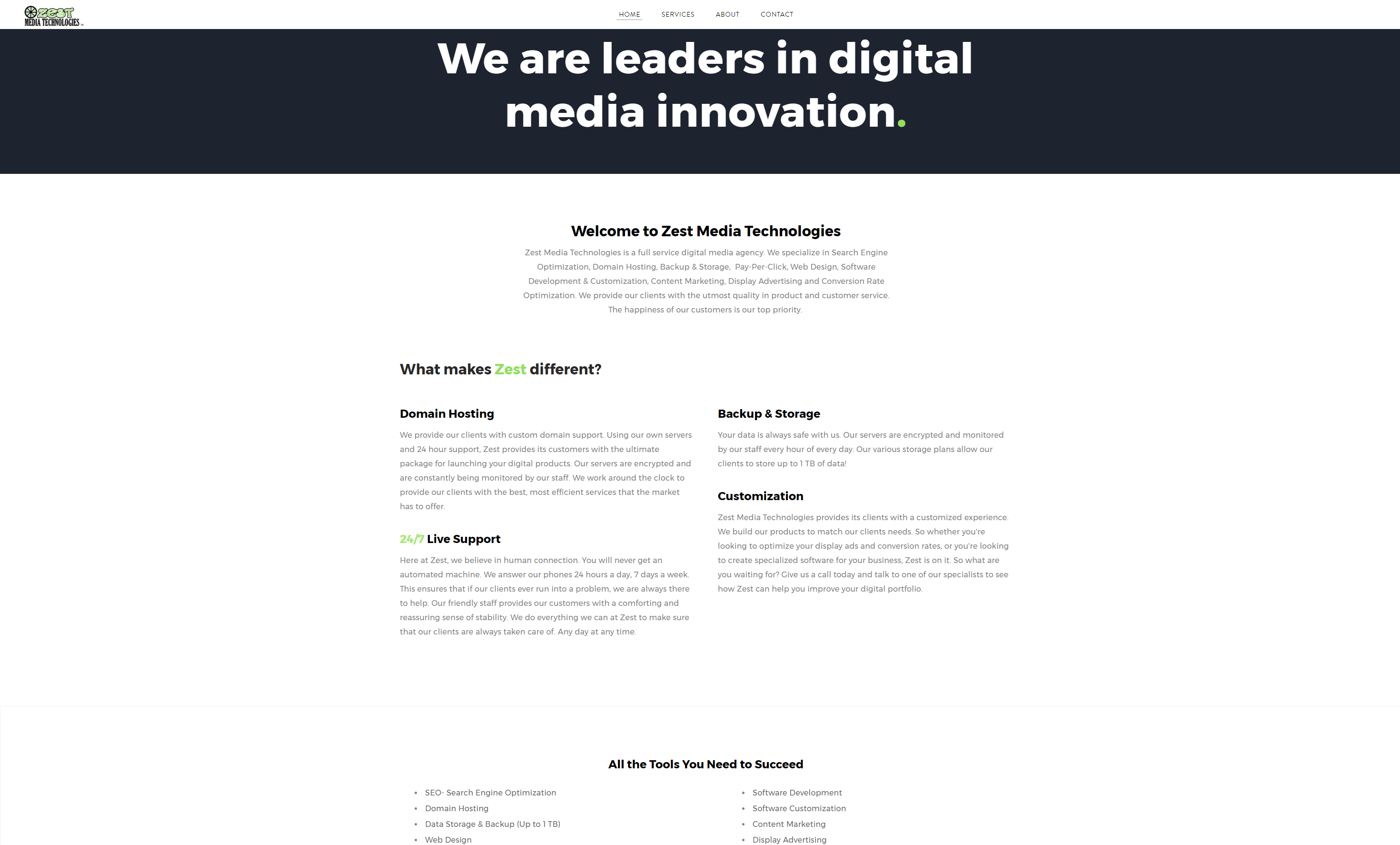 Zest Media Technologies Website-Home