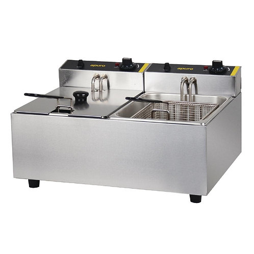 Apuro Double Pan Bench Top Fryer 2 x 5Ltr