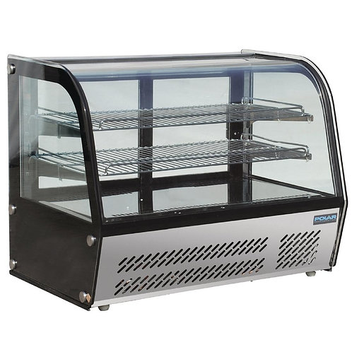 Polar Refrigerated Countertop Curved Glass Display Cabinet - 120Ltr