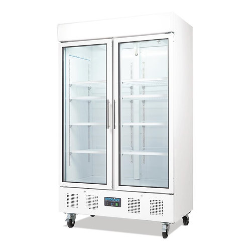 Polar Refrigerator Upright Display Cabinet 944Ltr White Body Double Glass Doo