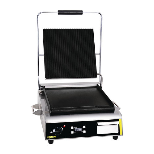 Apuro Jumbo Contact Grill. Ribbed Top & Flat Bottom Contact Grill