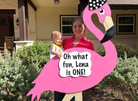 First Birthday Flamingo Yard Sign ~ Bryan, TX