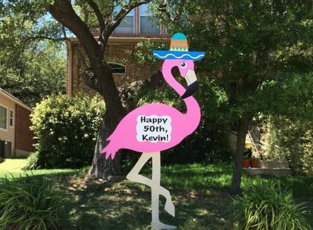 Flamingo Birthday Yard Sign ~ Bryan, TX