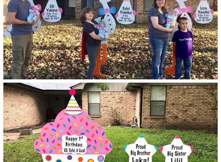 Triplet Birthday Yard Sign ~ College Station, TX