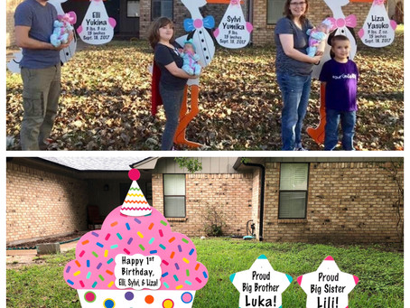 Triplet Birthday Yard Sign ~ College Station, TX