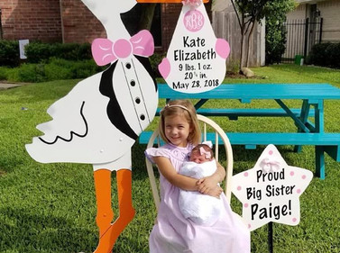 Pink Stork with Sibling Sign