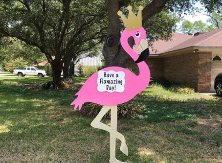 Flamingo Birthday Yard Sign Rental ~ College Station, TX