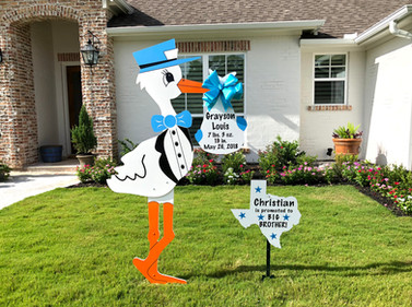 Blue Stork with Texas Sibling Sign