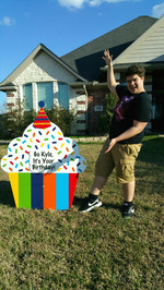 Rainbow Stripe Birthday Cupcake