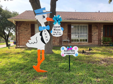 Blue Stork with Dog Bone Sign