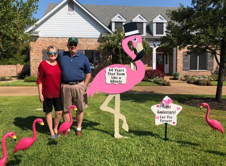 Flamingo Anniversary Yard Sign ~ Bryan, TX
