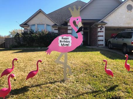 Flamingo Birthday Sign ~ College Station, TX