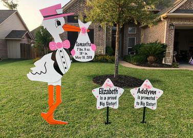 Pink Stork & Sibling Signs