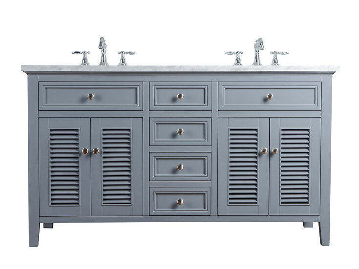 "Genevieve 60"" Slate Gray Double Vanity & Shutter Double Doors Dual Sinks"