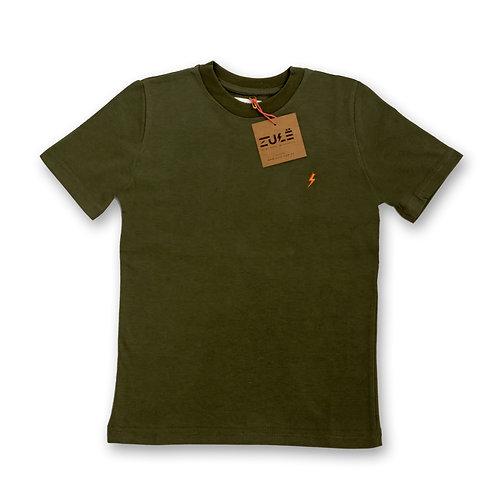 Remera Rayo Slim verde militar cuello redondo